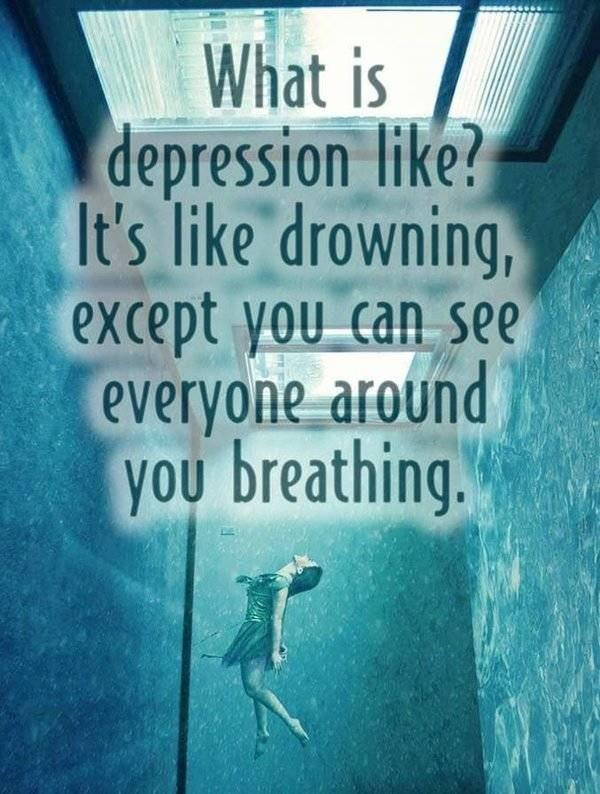 quotes about drowning in depression