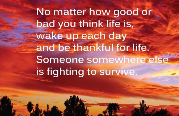 No Matter How Good Or Bad You Think Life Is, Wake Up Each Day And Be  Thankful For Life.