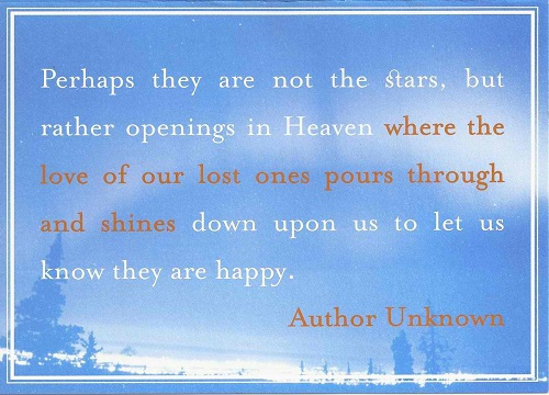 Perhaps They Are Not The Stars, But Rather Openings In Heaven Where The Love  Of Our Lostu2026 Happy Sympathy Quotes