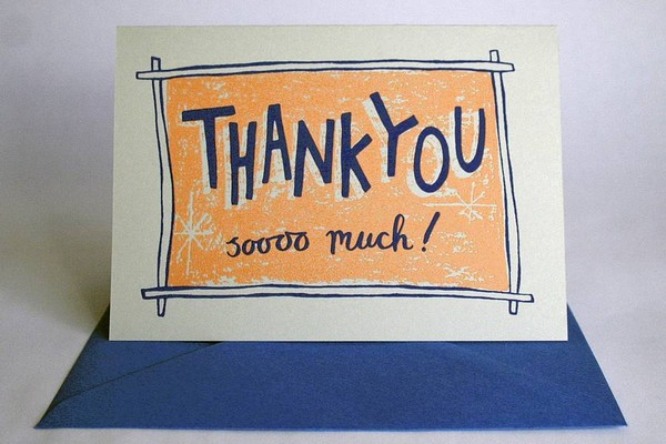 Thank You So Much Hand Printed Card