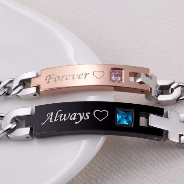 'Always' and 'Forever' Couple Chain Bracelet