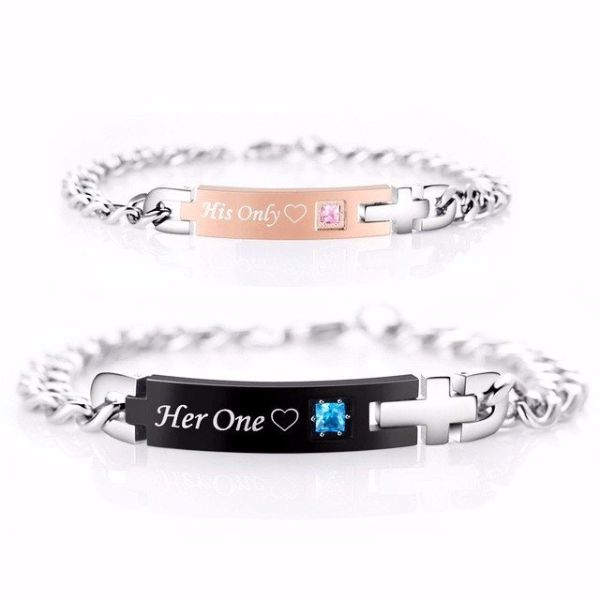 'His Only' and'Her One' Couple Chain Bracelet