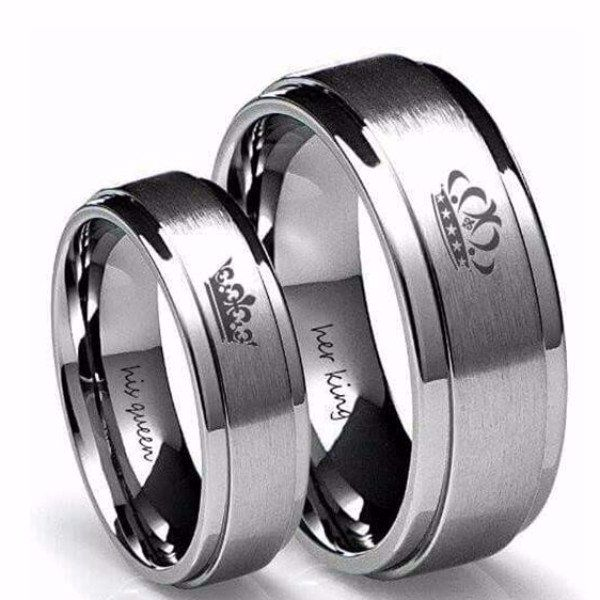 'His Queen' and'Her King' Couple Ring