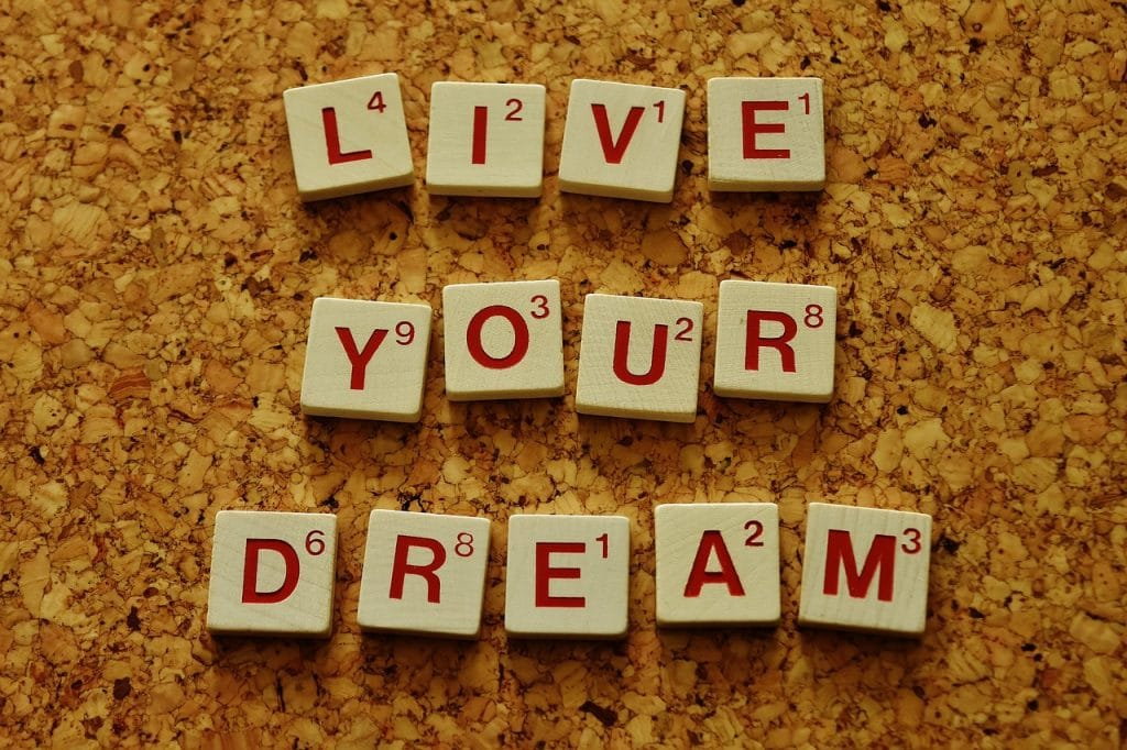 Live your dream text in blocks live without regret