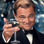 Leonardo DiCaprio holding a glass of champage great gatsby quotes