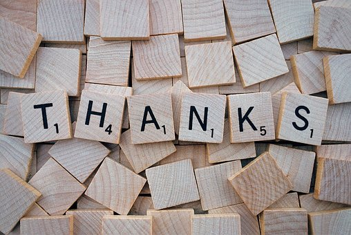 the word thanks spelled out on blocks quotes about gratitude