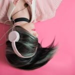 girl laying down listening to headsets music quotes