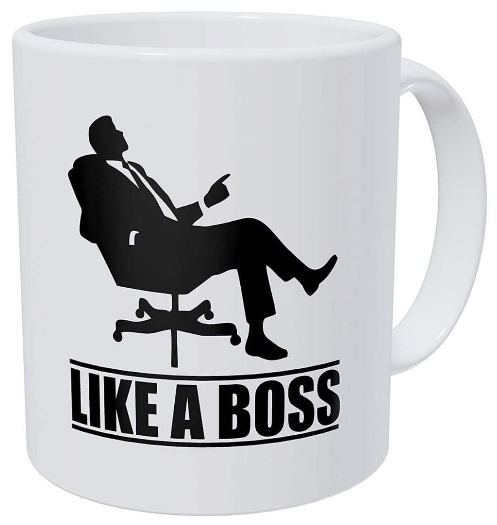 like a boss funny coffee mug
