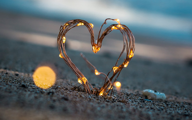 heart light on a sand