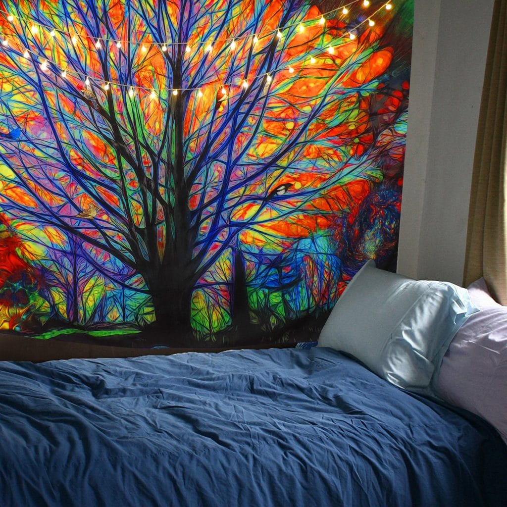 BLEUM CADE Colorful Tree Tapestry Wall Hanging Psychedelic Forest with Birds