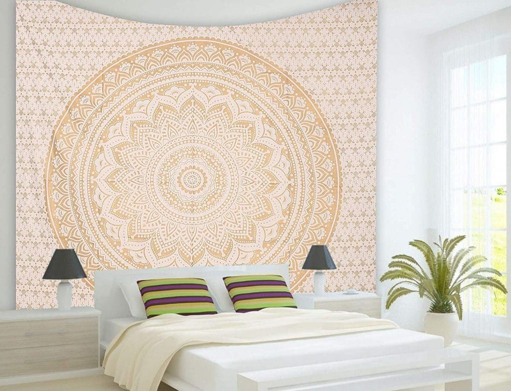 Tapestry Wall Hanging Golden Ombre Tapestry Gold Tapestry Ombre Bedding Mandala Tapestry