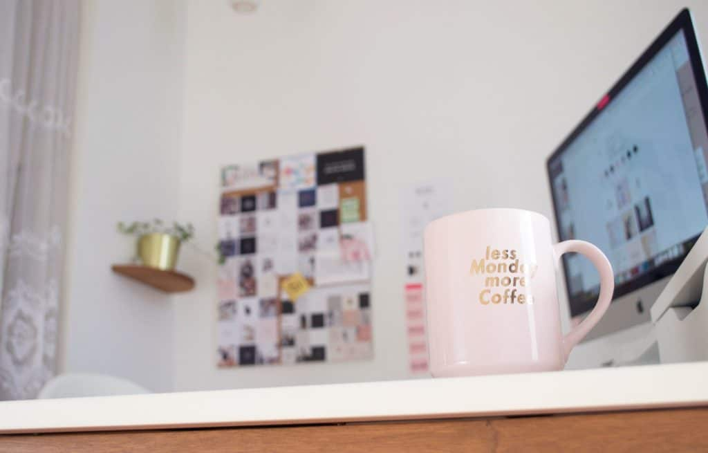 coffee mug and a workstation