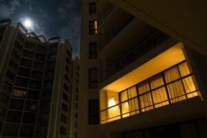 light on in apartment window
